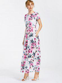 Floral Print Round Collar Maxi Dress - White S