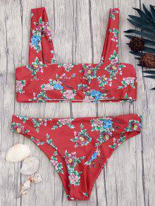 Cuello Cuadrado Ancho Correas Bikini Floral Conjunto - Rojo S