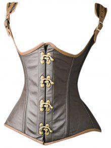 Underbust Faux Leather Corset Vest - Dark Khaki 2xl