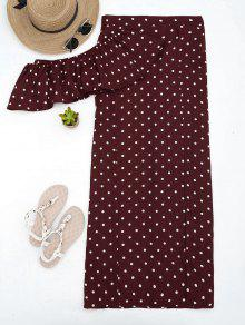 Polka Dot Off Shoulder Cropped Top And Maxi Skirt - Wine Red M