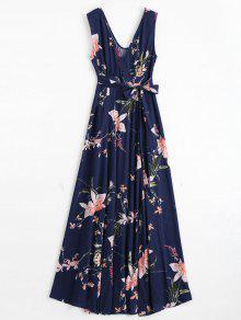 Self Tie High Slit Floral Maxi Surplice Dress - Purplish Blue S