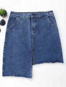 Slit Asymmetrical Denim Skirt - Denim Blue Xl