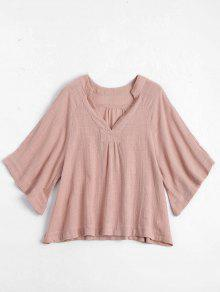 Three Quarter Sleeve V Neck Blouse - Pink M