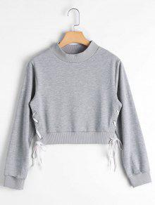 Side Lace Up Cosecha Sudadera - Gris Xl