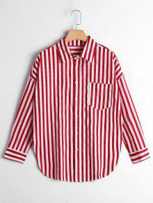 Button Up Drop Shoulder Striped Pocket Shirt - Red Stripe L