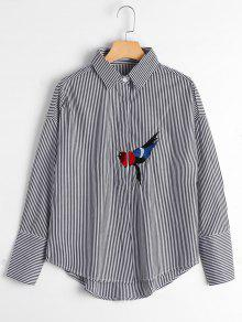Bird Patched Drop Shoulder Striped Shirt - Black M