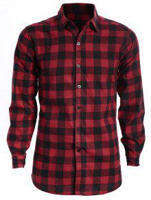 Camisa A Cuadros Casual Para Hombre - Rojo Y Negro L