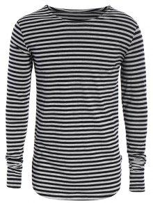 Striped Long Sleeve Mens Jersey Top - Black And Grey M