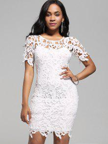 Buy Lace Cutwork Pencil Dress Cami - WHITE 2XL