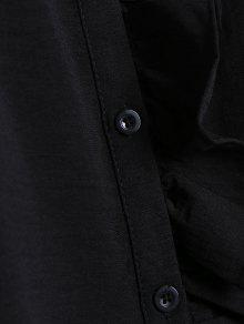 Grande Negro De La Floral De Bordada Talla Flounce 3xl Camisa xqng0wHavx