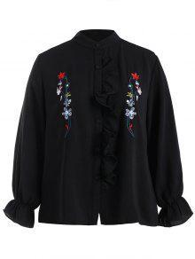 Chemise Brodée Florale à Grande Taille Flounce - Noir 3xl