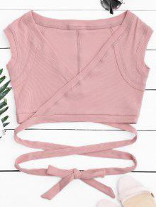 Crossover Ribbed Wrap Top - Pink S