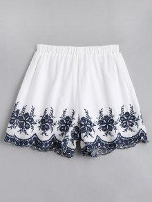 Short Taille Haute Brodé Floral - Blanc Xl
