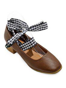 Square Toe Block Heel Tie Up Pumps - Deep Brown 38