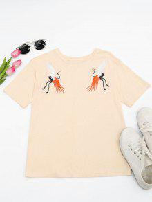 Cotton Crane Embroidered T-Shirt - Light Yellow L