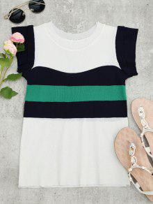 Knitted Color Block Layered Top - White