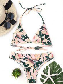 Conjunto De Bikini Acolchado Con Estampado Floral - Multicolor L