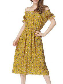 فستان ميدي بلا اكتاف طباعة الأزهار - الأصفر S