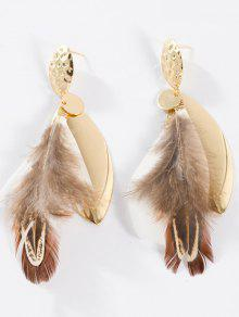 Feather Embellished Alloy Leaf Drop Earrings - White