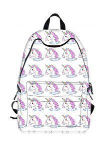 Cartoon Unicorn Print Backpack - White