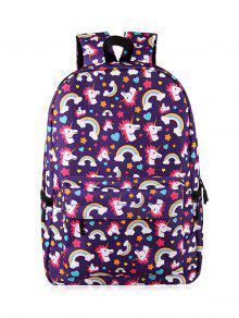 Cartoon Unicorn Print Backpack - Purple