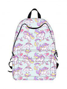 Cartoon Unicorn Print Backpack - Light Blue