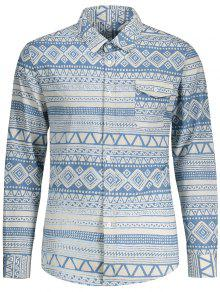 Pocket Geometric Pattern Shirt - Blue And White 2xl