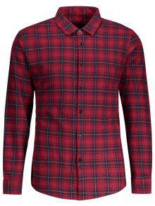 Botón Comprobado Encima De La Camisa - Rojo Xl