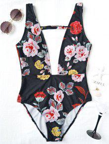 قطعة واحدة تغرق عالية قطع الزهور ملابس السباحة - أسود M