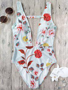 One Piece Plunging High Cut Floral Swimwear - White M