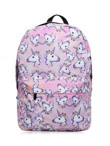 Unicorn Print Backpack - Pinkish Purple