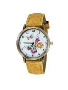Faux Leather Strap Butterfly Face Watch - Yellow