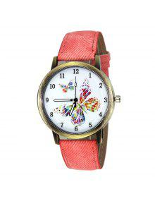 Faux Leather Strap Butterfly Face Watch - Pink