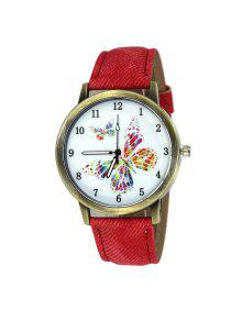 ساعة وجهها ذو نمط الفراشة بجلد صناعي - أحمر