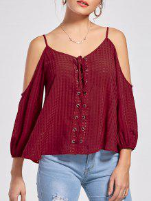 Lace Up Cold Shoulder Blouse - Wine Red 2xl