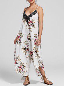 السباغيتي حزام الأزهار طباعة التاسعة واسعة الساق بذلة - الأزهار 2xl