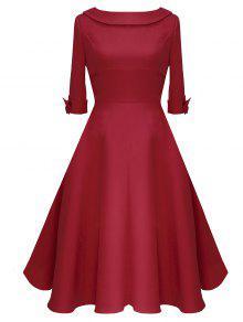 فستان كلاسيكي بونوت منتصف العجل - أحمر M