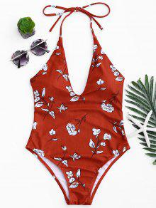 Printed V Neck Slimming One Piece Swimsuit - Red L