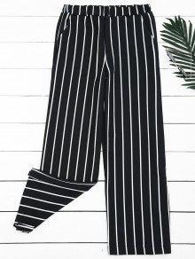High Waisted Striped Wide Leg Pants - Stripe M
