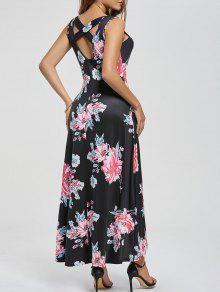 فستان طباعة الأزهار قطع متقاطع ماكسي - أسود L