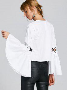 Blanco Blusa Blusa M Con Cordones Cordones Con 0qXvwqTRx