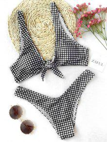 Front Tie Thong Plaid Bikini Set - White And Black Xl