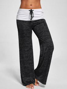 Foldover Heather Wide Leg Pants - Black Grey M