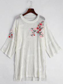 Sheer Floral Embroidered Sweater Dress - White