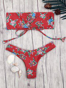 Lace Up Floral Print Bandeau Bikini Set - Red S