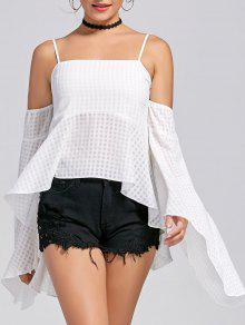 Bell Sleeve High Low Cold Shoulder Peplum Blouse - White L