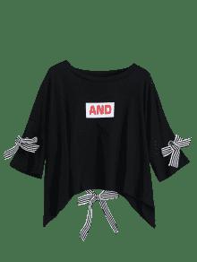 Negro Del La La Letra Hombro De Gota Impresi 243;n De De La Camiseta O6qgW7FW