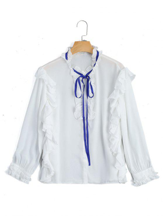 fancy Ruffle Hem Button Up Blouse - WHITE M