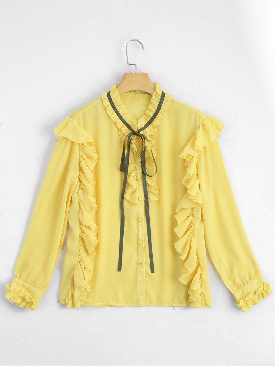 women Ruffle Hem Button Up Blouse - YELLOW M