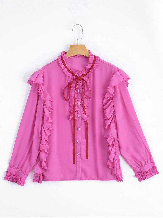 new Ruffle Hem Button Up Blouse - ROSE RED M